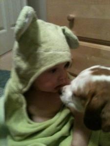 Stanley froggie towel looking at scrabble